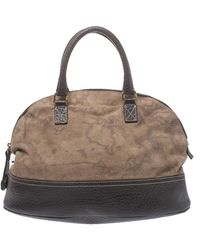 Alviero Martini 1A Classe Brown Fabric And Leather Satchel - Natural