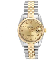 Rolex Champagne Diamonds 18k Yellow Gold Stainless Steel Datejust 16013 Men's Wristwatch 36 Mm - Metallic