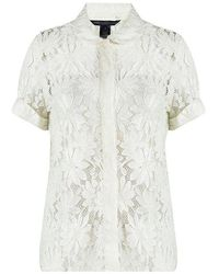 Marc By Marc Jacobs - Off Embroidered Lace Short Sleeve Blouse S - Lyst