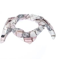 Chanel Light Pink And Gray Printed Silk Twill Camellia Scarf