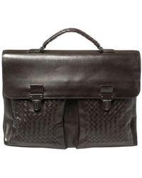 Bottega Veneta Dark Brown Intrecciato Leather Briefcase