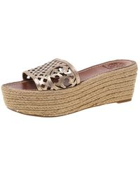 Tory Burch Bronze Leather Thatched Platform Wedge Sandals - Metallic