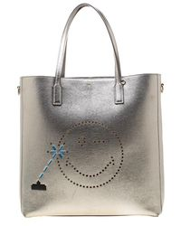 bc7a620d0 Anya Hindmarch Ebury Maxi Featherweight Smiley Bag In Dark Petrol Circus  Leather in Blue - Lyst