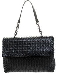 Bottega Veneta Black Leather Olimpia Chain Strap Shoulder Bag