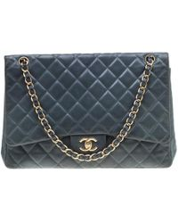 Chanel - Blue Quilted Lambskin Leather Classic Maxi Single Flap Bag - Lyst