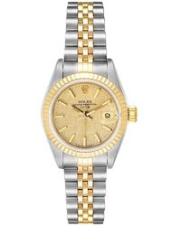 Rolex Champagne Linen 18k Yellow Gold And Stainless Steel Datejust 69173 Women's Wristwatch 26 Mm - Metallic