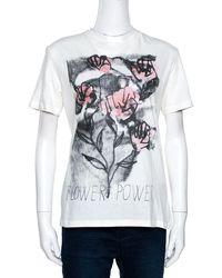 Dior Off White Flower Power Print Cotton Linen T-shirt S
