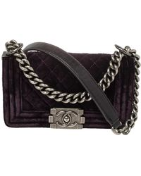 Chanel Grape Purple Quilted Velvet Small Boy Flap Bag