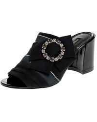 Dolce & Gabbana Black Satin Crystal Embellished Bow Open Toe Mules