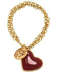 Carolina Herrera Heart Gold Tone Chain Link Bracelet - Metallic