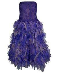 Tadashi Shoji - Purple And Begie Tulle Embroidered Faux Feather Strapless Dress - Lyst