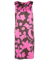 Tory Burch - Brown And Pink Floral Printed Cotton Sleeveless Dress L - Lyst