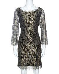 Diane von Furstenberg Black & Gold Lace Zarita Shift Dress L - Metallic