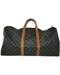 Louis Vuitton Monogram Canvas Keepall Bandouliere 60 Bag - Brown