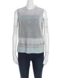 Missoni - Silver And Blue Gradient Lurex Knit High Neck Sleeveless Top L - Lyst