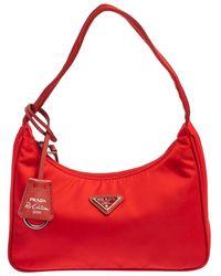 Prada Red Tessuto Nylon Re-edition 2000 Baguette Bag