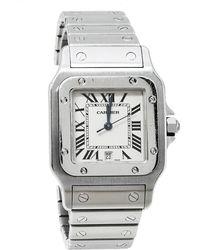 Cartier Cream Stainless Steel Santos 1564 Wristwatch 29mm - Multicolour