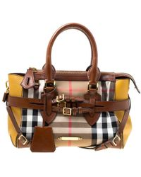 eb6104a87894 Burberry - Brown yellow House Check Fabric And Leather Gladstone Tote - Lyst