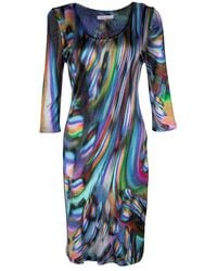 Matthew Williamson Multicolor Printed Knit Long Sleeve Dress - Blue
