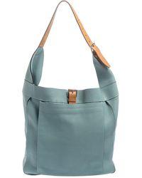 Hermès Ciel Clemence Leather Palladium Hardware Marwari Gm Bag - Blue