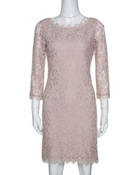 Diane von Furstenberg Beige Lace Zarita Shift Dress M - Natural