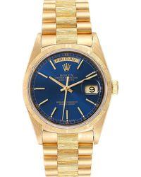 Rolex Blue 18k Yellow Gold President Day Date 18078 Wristwatch 36 Mm