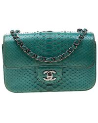 Chanel - Turquoise Python New Mini Classic Single Flap Bag - Lyst