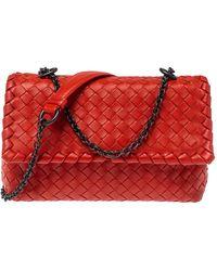 Bottega Veneta Orange Intrecciato Leather Baby Olimpia Shoulder Bag
