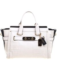c143572b984b3 COACH - Off Croc Embossed Leather Large Swagger Top Handle Bag - Lyst