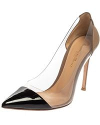 Gianvito Rossi Black Patent Leather And Pvc Plexi Pointed Toe Court Shoes
