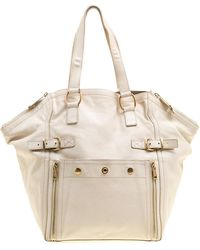 Saint Laurent - Off White Leather Medium Downtown Tote - Lyst