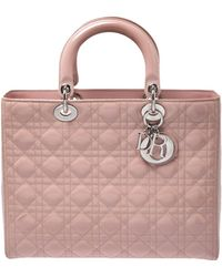 Dior Light Pink Cannage Patent Leather Large Lady Tote