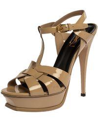 Saint Laurent Beige Patent Leather Tribute Platform Sandals - Natural