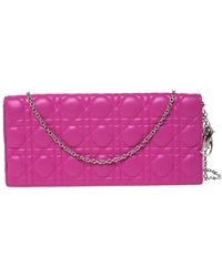 Dior Pink Cannage Leather Lady Chain Clutch