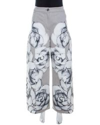 Chanel Grey Camellia Painted Denim High Waist Flared Jeans M - Gray