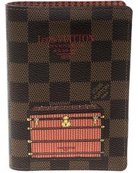 Louis Vuitton Damier Ebene Canvas Trunk And Lock Passport Cover - Brown