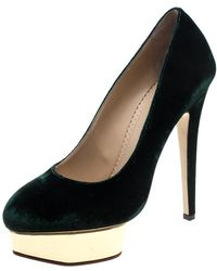 Charlotte Olympia Green Velvet Dolly Platform Court Shoes Size 40