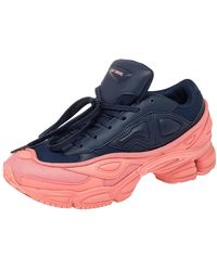 adidas By Raf Simons - Blue/pink Leather And Mesh Ozweego Sneakers - Lyst