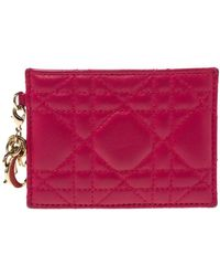 Dior Pink Cannage Leather Lady Card Holder