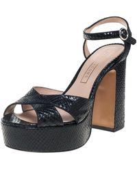 Marc Jacobs Black Python Embossed Leather Criss Crss Platform Ankle Strap