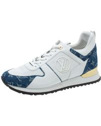 Louis Vuitton White/blue Leather, Mesh And Denim Monogram Run Away Sneakers