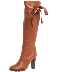 Chloé Tan Leather Knee Tie High Boots - Brown