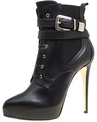 Le Silla - Enio Silla For Black Leather Platform Ankle Boots - Lyst