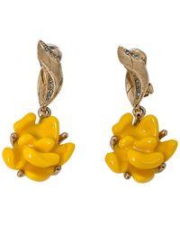 Oscar de la Renta Yellow Marigold Drop Clip On Earrings
