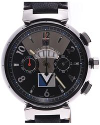 Louis Vuitton Black Stainless Steel And Leather Tambour Chrono Q102g Men's Wristwatch 44mm