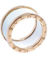 BVLGARI B.zero1 White Ceramic 18k Rose Gold 4-band Ring