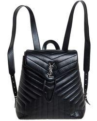 Saint Laurent Saint Laurent Black Y Quilted Leather Loulou Backpack