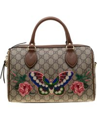 30e060f7988 Gucci - Beige brown Butterfly Embroidered GG Supreme Canvas And Leather  Small Joy Boston Bag