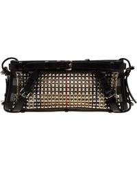 Burberry - Black House Check Canvas And Leather Studded Clutch - Lyst
