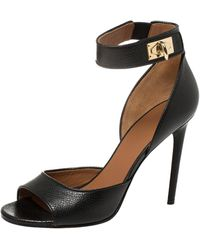 Givenchy Black Leather Shark Lock Ankle Strap Sandals